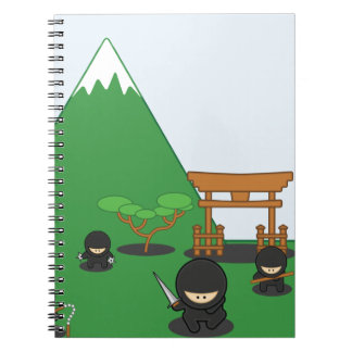 Cartoon Ninjas (in the countryside) Spiral Note Book