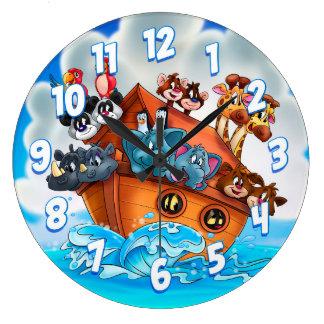 Cartoon Noah kids wall clock