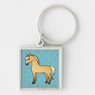 Cartoon Norwegian Fjord Horse Silver-Colored Square Keychain