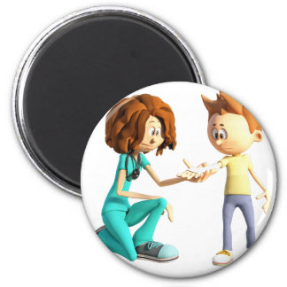 Cartoon Nurse and Little Boy 2 Inch Round Magnet