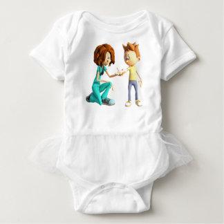 Cartoon Nurse and Little Boy Baby Bodysuit