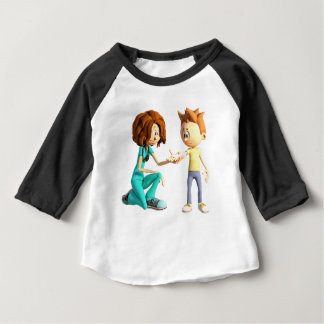 Cartoon Nurse and Little Boy Baby T-Shirt