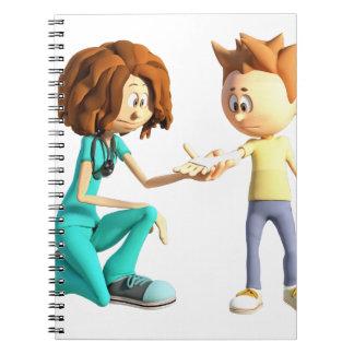Cartoon Nurse and Little Boy Spiral Notebook