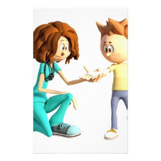 Cartoon Nurse and Little Boy Stationery