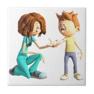 Cartoon Nurse and Little Boy Tile