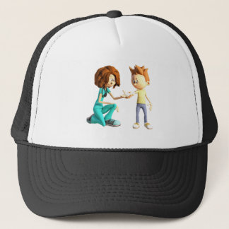 Cartoon Nurse and Little Boy Trucker Hat
