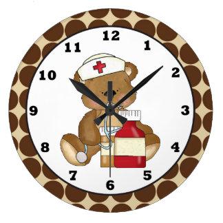 cartoon nurse bear wall clock