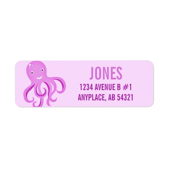 Cartoon Octopus Purple Cute Fun Beach Aquatic Return Address Label