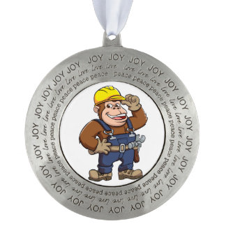 Cartoon of a Gorilla Handyman Round Pewter Ornament