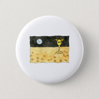 Cartoon of a lost giraffe. 2 inch round button