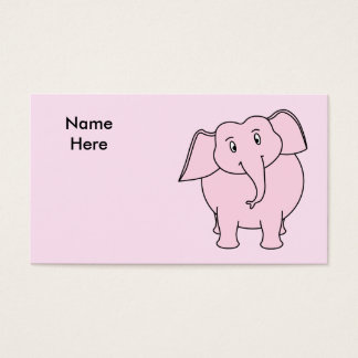 Cartoon of a Pink Elephant Business Card