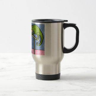 Cartoon of chameleon stamping a letter travel mug