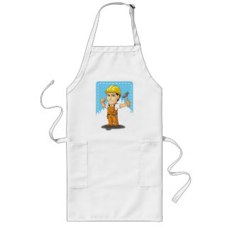 Cartoon of Industrial Construction Worker Long Apron