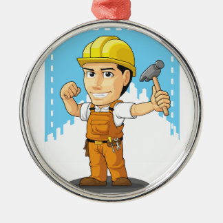 Cartoon of Industrial Construction Worker Silver-Colored Round Ornament