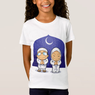Cartoon of Muslim Man Woman Greeting Ramadan T-Shirt