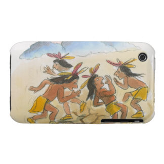 Cartoon of Native American men performing rain iPhone 3 Case-Mate Case