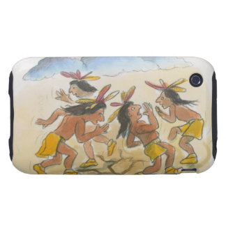 Cartoon of Native American men performing rain Tough iPhone 3 Cases