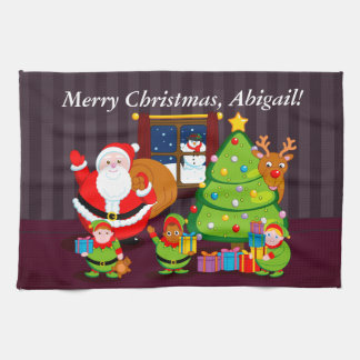 Cartoon of Santa Claus delivering Christmas gifts, Kitchen Towel