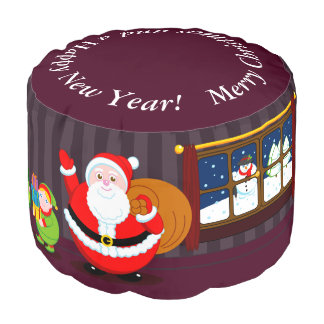 Cartoon of Santa Claus delivering Christmas gifts, Pouf