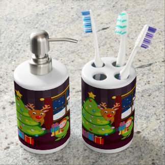 Cartoon of Santa Claus delivering Christmas gifts, Soap Dispenser And Toothbrush Holder
