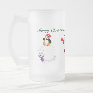 Cartoon of Santa & penguin riding a polar bear, Frosted Glass Beer Mug