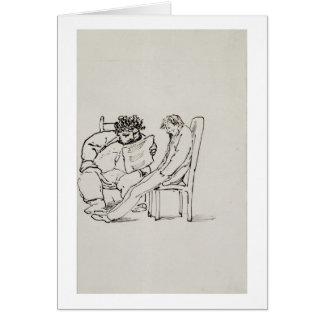 Cartoon of William Morris (1834-96) reading poetry Card