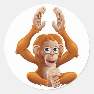 Cartoon OrangUtan Animal Character Classic Round Sticker