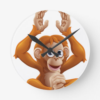 Cartoon OrangUtan Animal Character Wall Clocks
