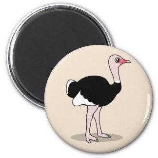 Cartoon Ostrich 2 Inch Round Magnet
