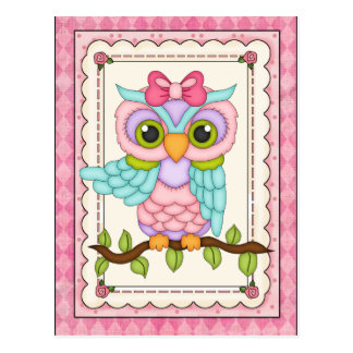 Cartoon owl any purpose postcard
