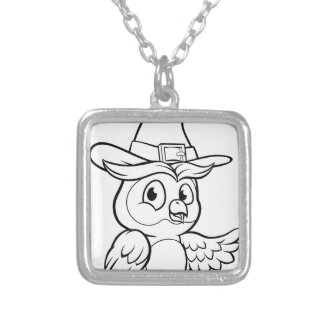 Cartoon Owl Character Silver Plated Necklace