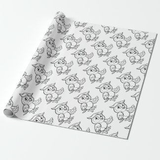 Cartoon Owl Character Wrapping Paper