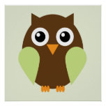 Cartoon Owl Children's Wall Art {Green}