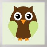Cartoon Owl Children's Wall Art {Green} Posters