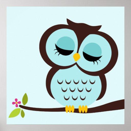 Cartoon Owl Children's Wall Art Print
