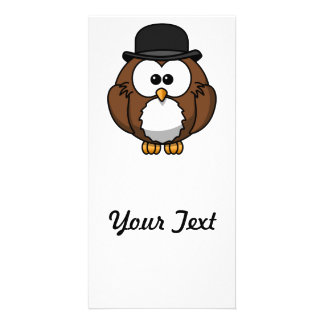 Cartoon Owl in Bowler Hat Photo Card Template