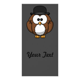 Cartoon Owl in Bowler Hat with Grey Background Custom Photo Card
