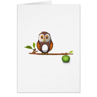 Cartoon Owl on Branch Card