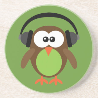 Cartoon Owl With Headphones Drink Coaster