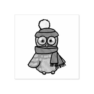 cartoon owl with red hat and winter scarf rubber stamp