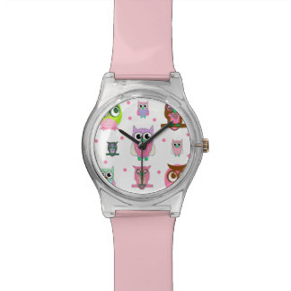 Cartoon Owls Pink Modern Watch