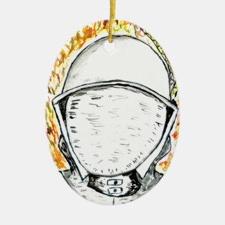 Cartoon Painted Astronaut2 Ceramic Oval Ornament