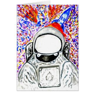 Cartoon Painted Astronaut Card