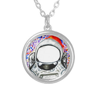 Cartoon Painted Astronaut Silver Plated Necklace