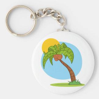 Cartoon Palm Tree Basic Round Button Keychain