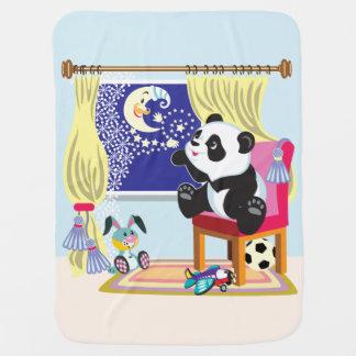 cartoon panda and moon swaddle blanket