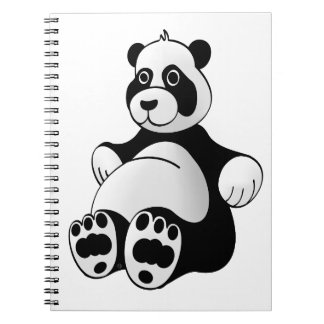 Cartoon Panda Bear Stuffed Animal Spiral Note Books