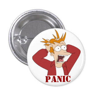 Cartoon Panic 1 Inch Round Button