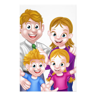 Cartoon Parents and Kids Stationery