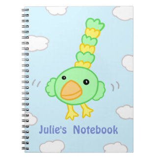 Cartoon Parrot Flying Through the Clouds Notebook